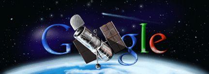 Ruimtetelescoop Hubble - 24 april 2010 Speciaal Google logo in het teken van Ruimtetelescoop Hubble, gelanceerd op 24 april 1980. Het logo werd net als de Olympische Doodles in 2010 geplaatst over de geheele breedte van de homepage. Verder zaten er vier Easter Eggs verwerkt in het logo, dit zijn links naar foto's gemaakt door de telescoop op Google Sky.