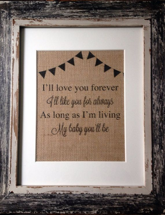 GIFT I Love You Forever Bunting Printed Burlap for by teaandsugar, $10.00