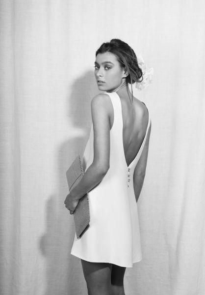 Pantalon de mariée courte et dos nu - Robe: Rhum Raisin collection 2015 modèle Ysaure #bridaldress #robecourte #shortweddingdress