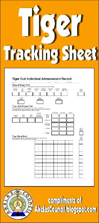 Need a way to track TIGER requirements? This is a great PRINTABLE Tracking sheet. This site has other tracking sheets and a lot of great Cub Scout Ideas compliments of Akela's Council Cub Scout Leader Training. Utah National Parks Council has planned this exciting 4 1/2 day Cub Scout Leader Training that covers lots of Cub Scout Info and Webelos Outdoor Experience, and much more. For more info go to AkelasCouncil.com
