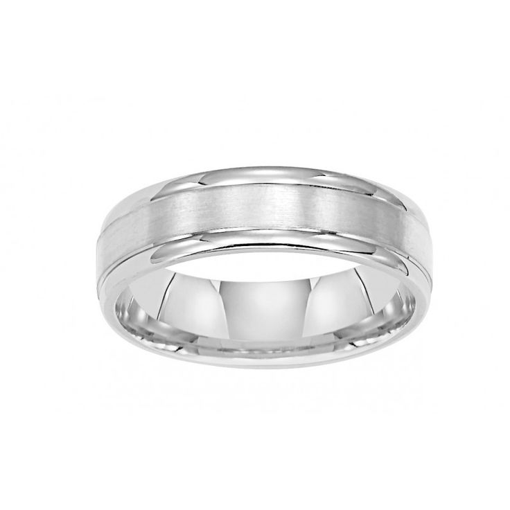 14k white gold 6mm wide mens 3band style raised wedding