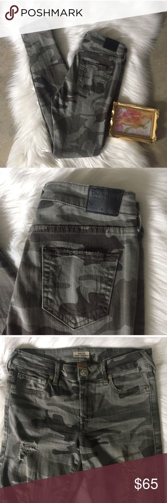 True Religion HALLE Destroyed Camo Skinny Jeans Factory destroyed camouflage print HALLE jeans from True Religion. Size 25. In very good used condition. 58% cotton, 39% rayon, 3% spandex. Measurements to come soon. Please feel free to ask questions. True Religion Jeans Skinny
