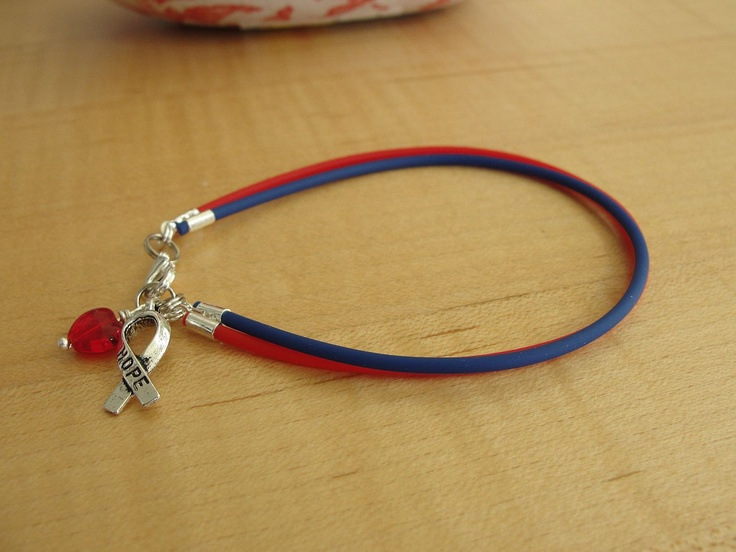 Red and Blue Awareness Bracelet -   Noonan's Syndrome, SADS, Congenital Heart Defect & More. $6.00, via Etsy.