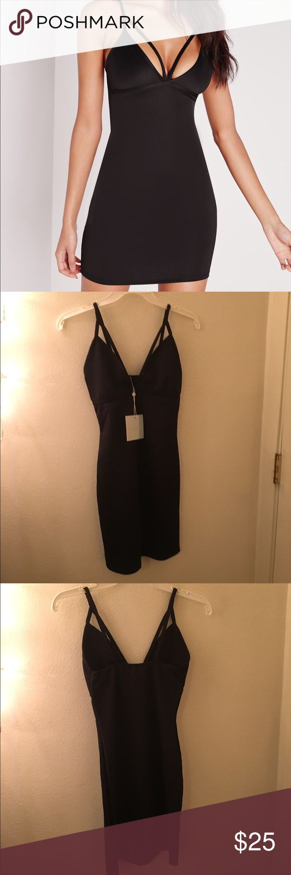 21 🅿🅿 NWT missguided petite strappy Black dress Missguided petite black scuba strappy bust cup bodycon dress size 0 xs. Brand new with tags Missguided Dresses Mini