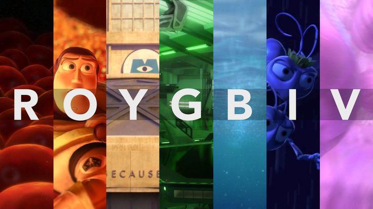 Los colores que Pixar usa para emocionarte ROYGBIV:  rojo, naranja, amarillo, verde, azul, añil y violeta