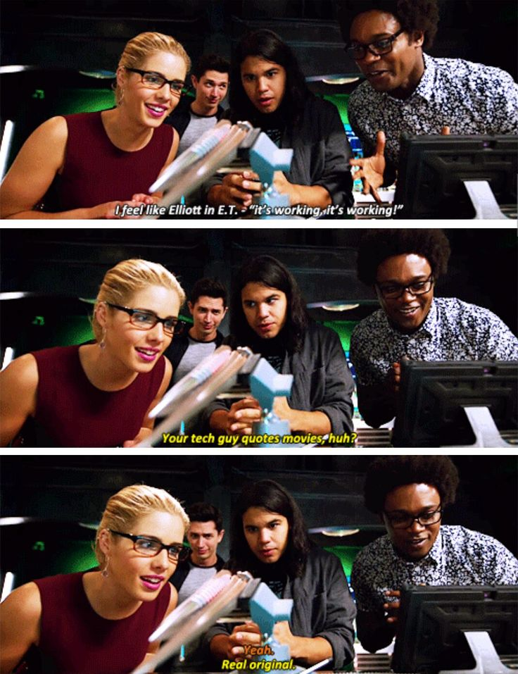 """""""Your tech guys quotes movies, huh?"""" - Cisco, Felicity, Curtis and Rory #Arrow"""