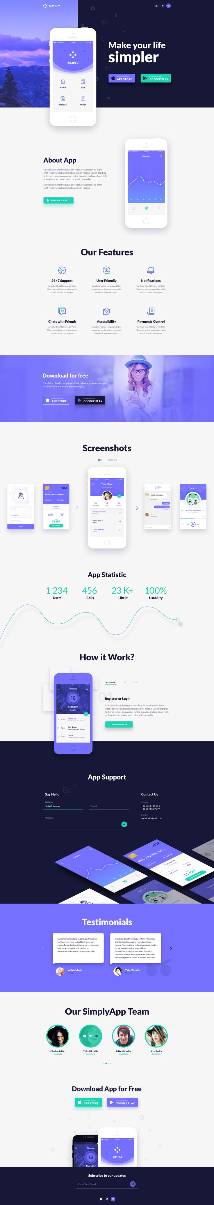 Simply - Onepage App Template #web design #App PSD Template #landing page • Download ➝ https://themeforest.net/item/simply-onepage-app-template/17130689?ref=pxcr