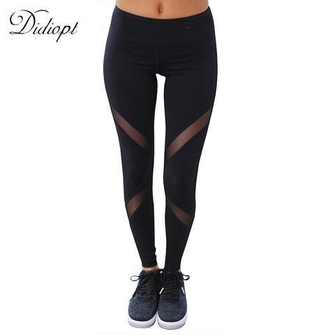 Women's Black Patchwork Transparent Yoga Pants