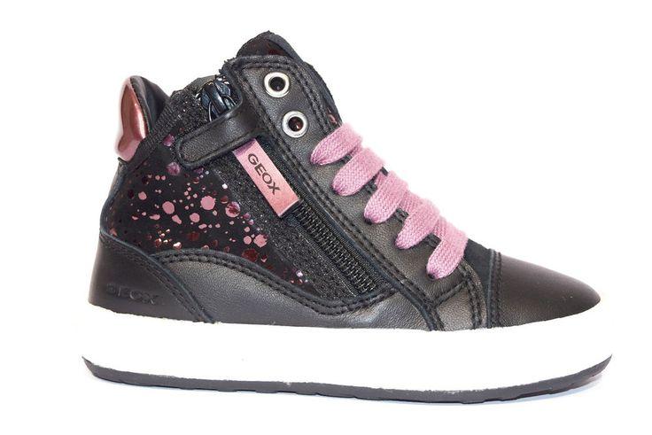 GEOX J64C8B 085JS C0037 WITTY METAL Sneakers Alta Bambina Nero Violetta Cerniera