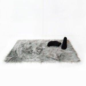 Faux Mongolian Rectangle Scatter Rug - Gray