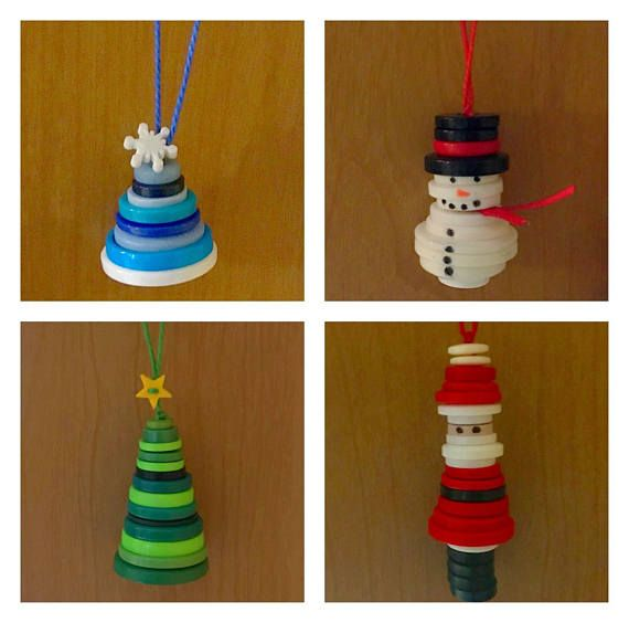 These handmade button ornaments will be a fun and unique addition to your tree this holiday season! Choose between Santa, snowman, winter hat and Christmas tree ornaments, or get them all! Price is $7 for one ornament, $12 for 2 and $20 for 4! And don't forget, shipping is FREE! Christmas