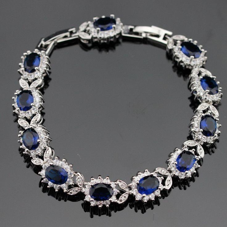 925 Sterling Silver Bracelets For Women Length 18+2cm Blue Sapphire Tanzanite White Topaz Jewelry Free Gift Box