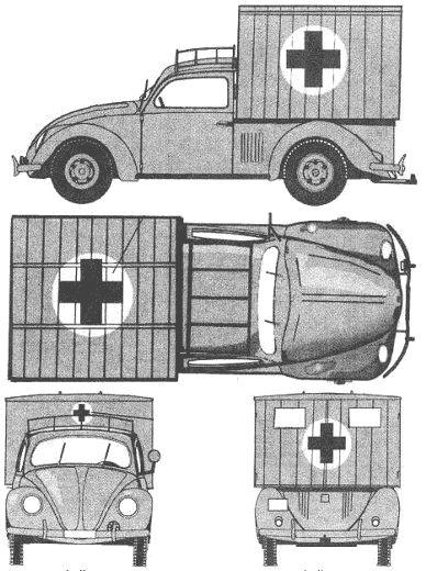 1944 Volkswagen KDF Wagen Type 93 Ambulance Pick-up blueprint