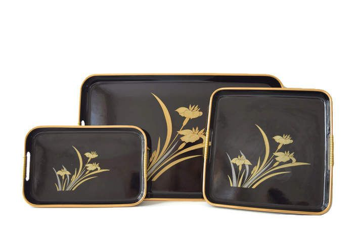 Vintage Japanese Trays, Lacquer Nested Trays Different Sizes Asian Black Gold Silver Color Trays Set, Fancy Serving Coffee Table Decoration by BelleBloomVintage on Etsy