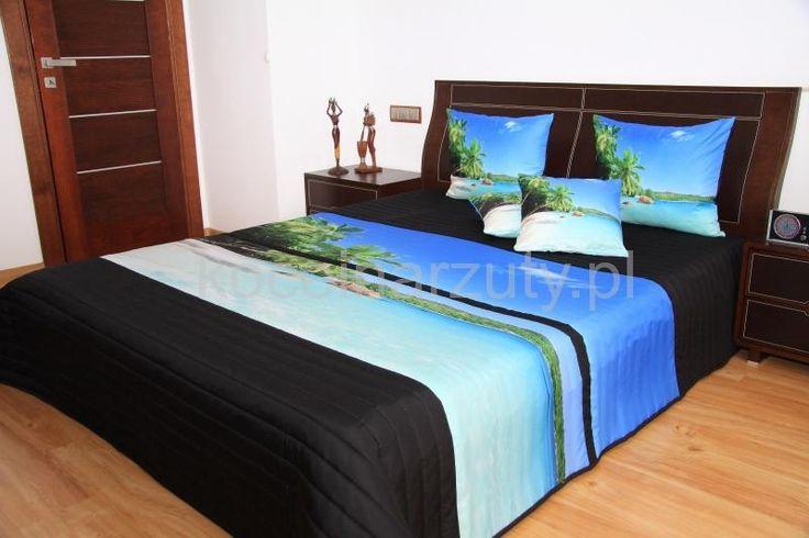 Narzuty modne na łóżko w kolorze czarnym z morzemi i palmami