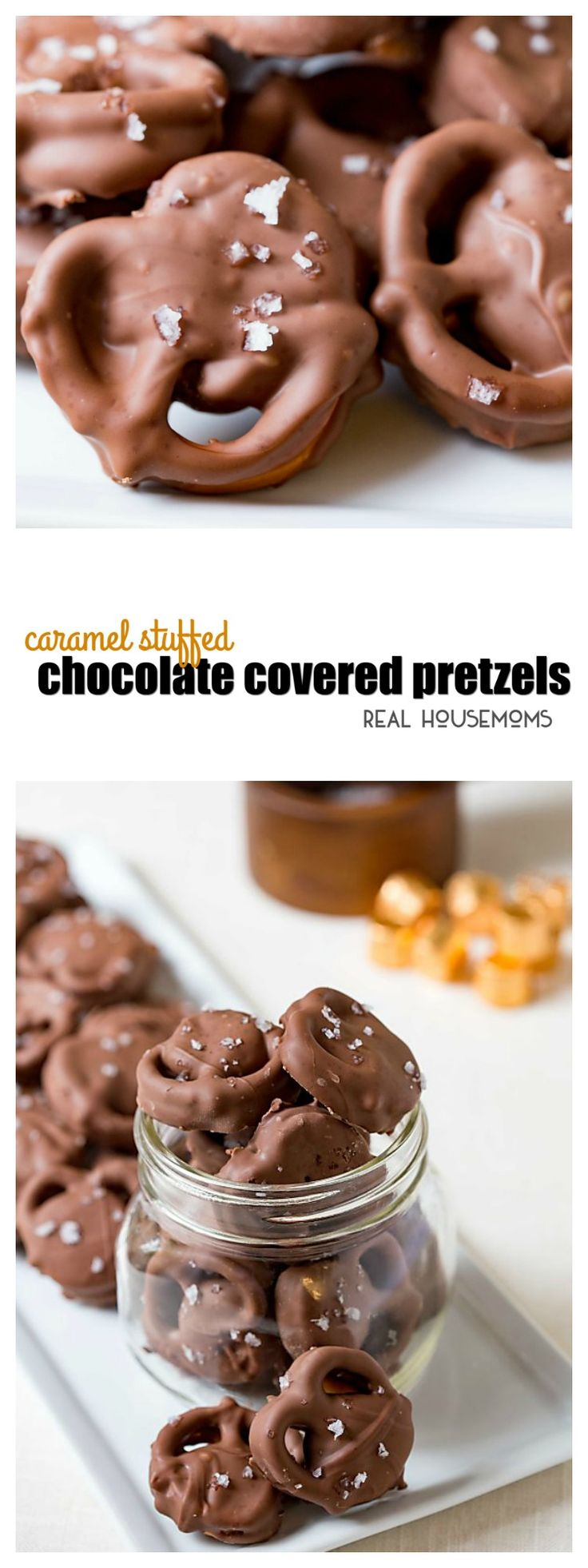 Caramel Stuffed Chocolate Covered Pretzels are a simple candy you can serve up as a Christmas treat or just for fun! Christmas candy or not they make everyone smile! via @realhousemoms