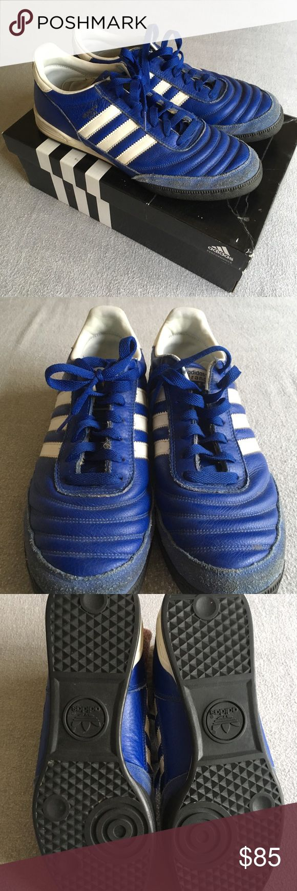 Adidas Mundial Goal France World Cup men's 10 Pre-owned European market France World Cup Mundial Goal's. Size 10, little wear, see pictures. I wear a 10.5 so I only wore them a handful of times. They might be 20 years old. Vintage bad ass Adidas indoor soccer shoes. A must have for your closet!! adidas Shoes Sneakers
