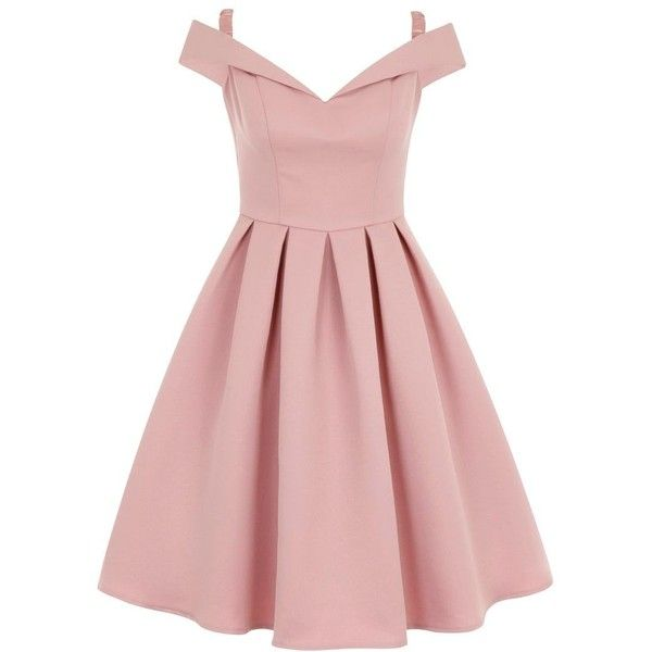 Chi Chi London Fold Over Bardot Midi Dress ($87) ❤ liked on Polyvore featuring dresses, pink, women, midi dress, pink cocktail dress, midi prom dress, cocktail prom dress and vintage style prom dresses