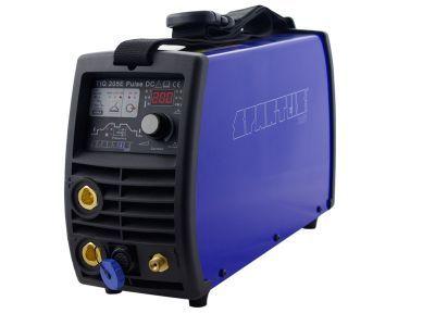 Spawarka inwertorowa Spartus TIG 205E puls DC z pełnym wyposażeniem, gotowa do pracy.