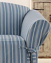Grainsack Stripe Loveseat Slipcover