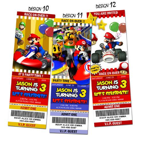 (SUPER MARIO BROS. -Design Ticket Number. ( Example: Design 3 - SUPER MARIO BROS). Ticket Invitations. 1) Information you wish to add in the Ticket card. - Child's age. Finally, you will receive a High Quality 2 x 6 Photo Invitation. | eBay!