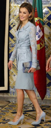 Felipe Varela powder blue dress suit - lace trench jacket with sheath dress. Debuted July 2014