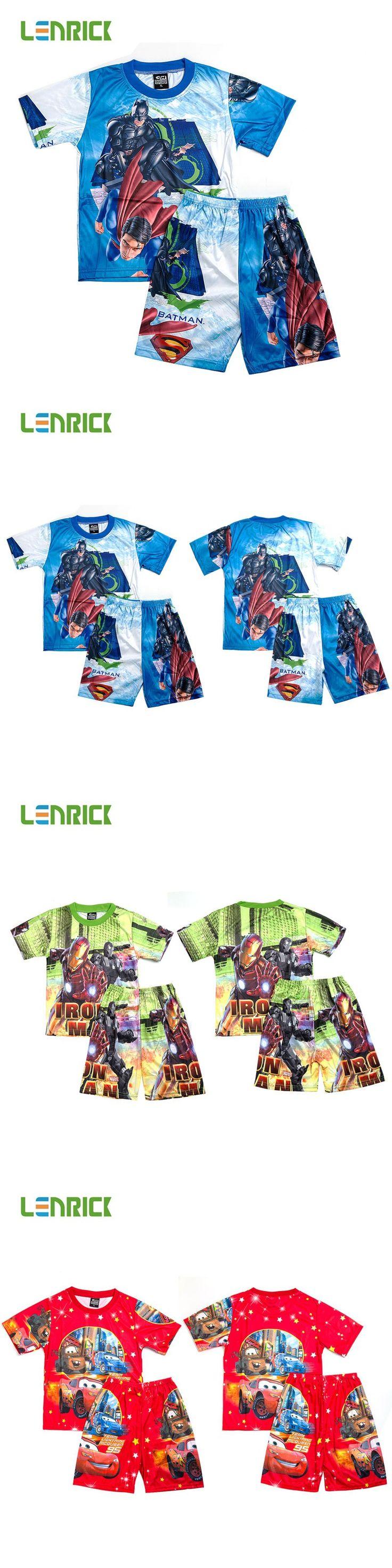 Lenrick 2016 Kids cartoon pajamas boys home sleepwear set Iron man casual nightwear childrens clothes kids sleeping clothing $7.31