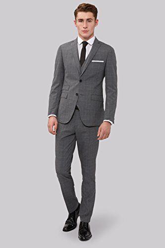 Moss London Men's Skinny Fit Grey Check Suit Jacket 36S Grey