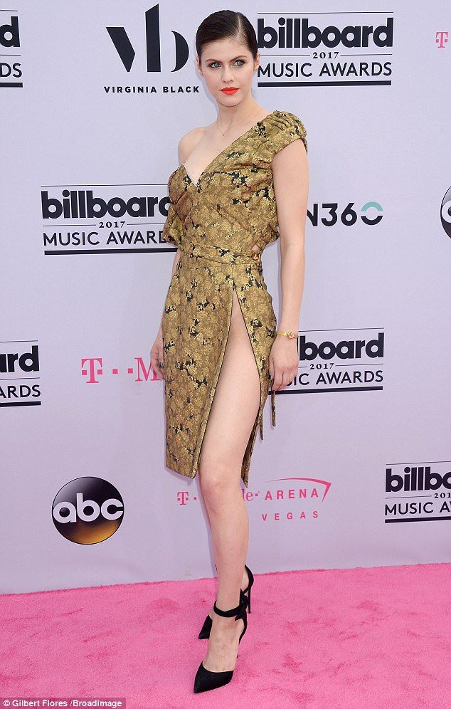 On fire: Alexandra Daddario stunned on the red carpet as she arrived in Las Vegas for the 2017 Billboard Music Awards on Sunday night