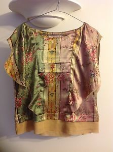 Trelise Cooper pink and green floral silk top