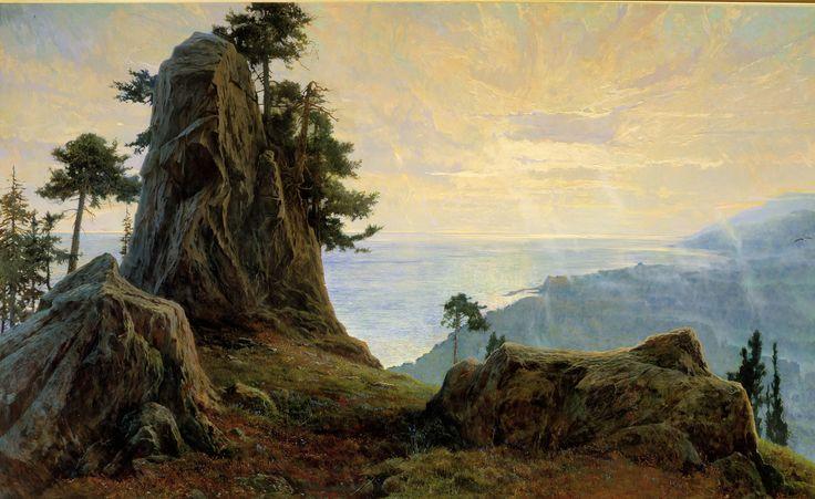 """картину """"Славное море-Священный Байкал"""" я рисовал в августе 1999г. Бухта песчаная близ острова Ольхон"""