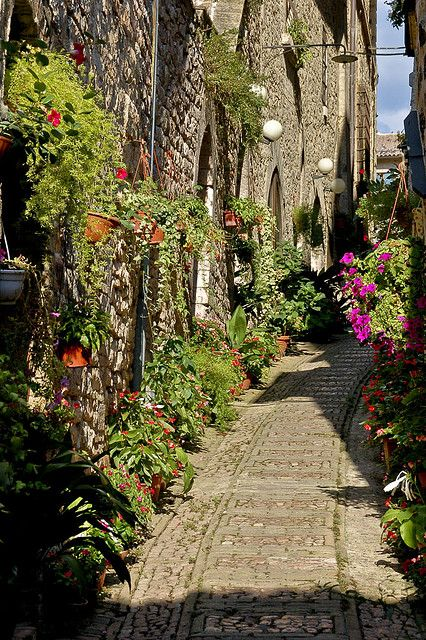 Streets of Spello, one of the most romantic towns in Umbria, Italy Perugia