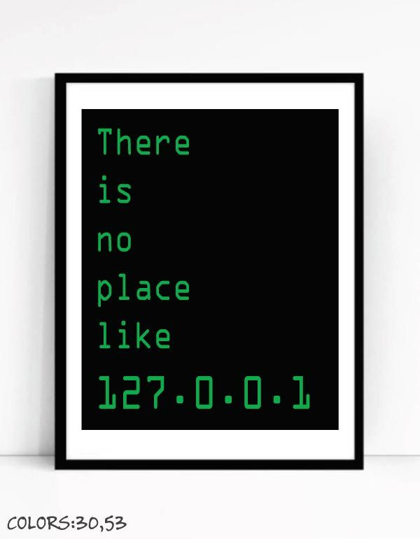 Printable There Is No Place Like 127.0.0.1 Art Print For Geeks,Digital Download,Office Quote Computer Coding Software Engineer Programmer by TalkingPictures on Etsy