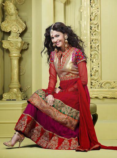 Fancy Deep Plum & Crimson Salwar Kameez | StylishKart.com