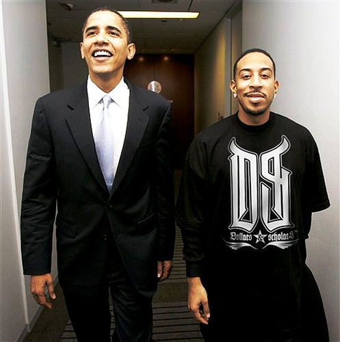 Barack Obama & Ludacris. I love the look on Luda's face