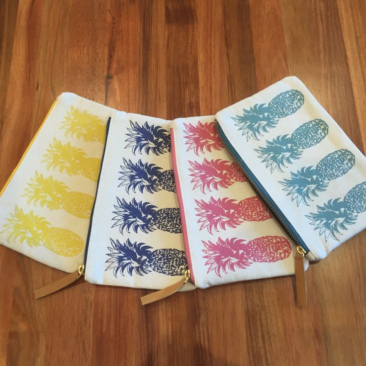 Hand screen printed and fully lined, these cool pineapple pouches are ideal for all your bits and pieces.  There's even room for your phone!