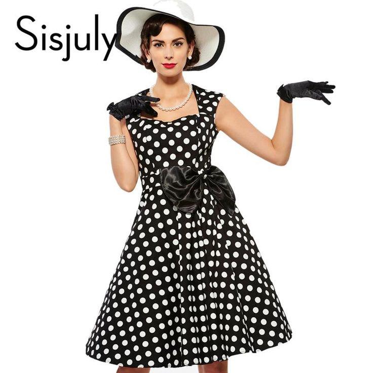 Sisjuly Vintage dress 1950s polka dot rockabilly grace style 2017 summer party dresses retro bow female elegant vintage dress