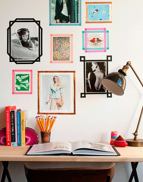 Make a frame wall your landlord won't go nuts about by using washi tape instead of nails!