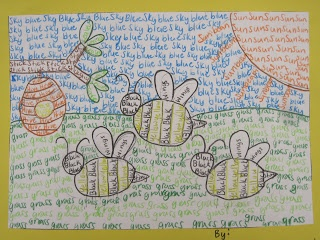 """Holly V, elementary Art teacher says, """"Calligrams are a type of poem where words or phrases are arranged to make a visual image. For this project... students draw an animal and a background. Instead of coloring it in...had the students color with words. that relate to the object. They could use single words, or full sentences."""" 5th grade: colored pencils or markers."""