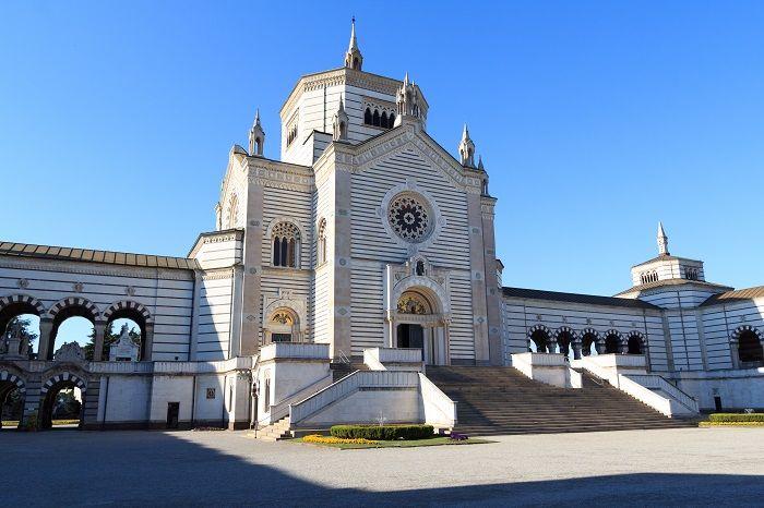 Chapel Famedio at Monumental cemetery (Cimitero Monumentale) in Milan, Italy.