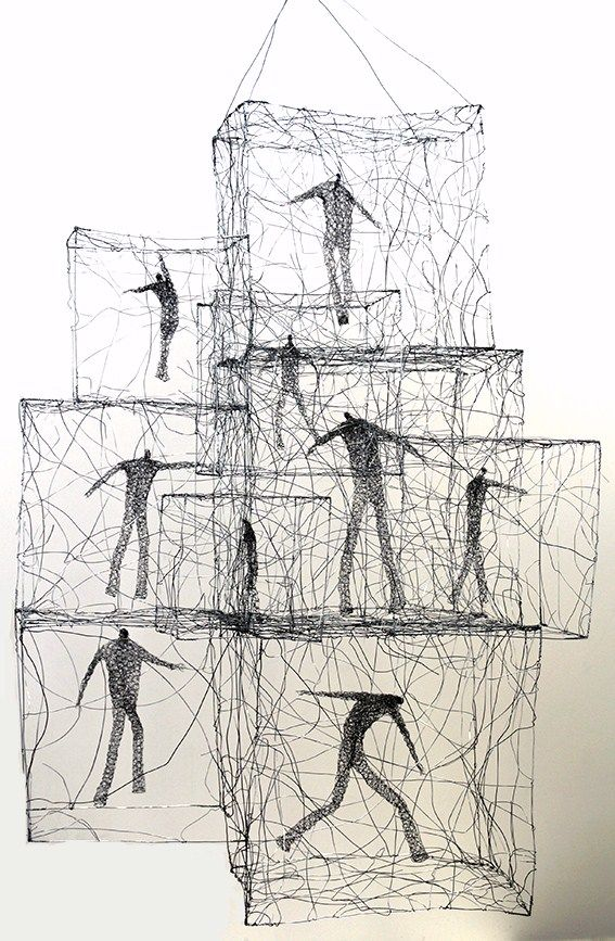 Wire sculpture/ drawings by Polish born Australian artist  Barbara Licha . These figures are very much trapped and caged, but ...