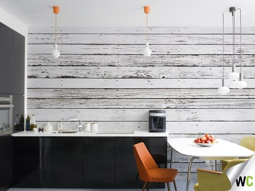 White wood wall mural - get the look without having to source and install the wood!
