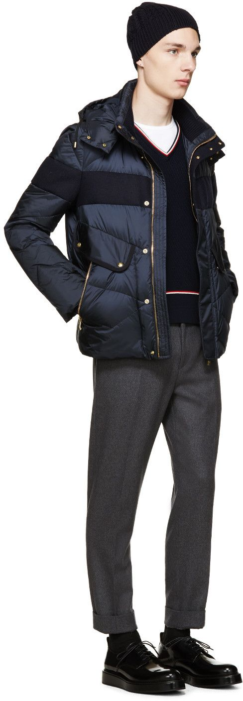 Moncler Gamme Bleu Navy Nylon & Wool Demar Jacket