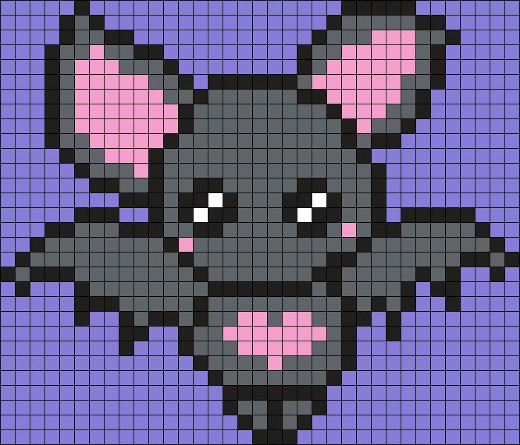 Cute Little Bat (Square Grid Pattern)