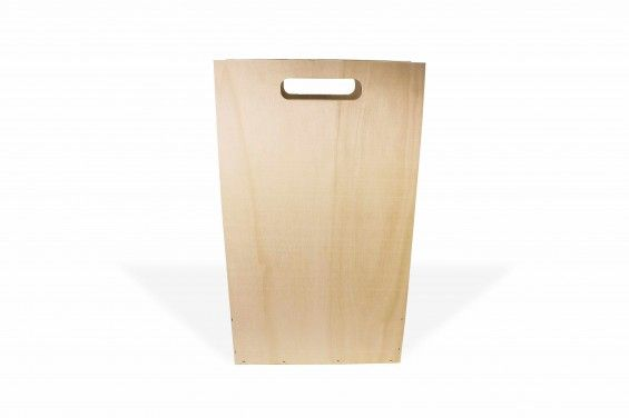 Embalaje de madera de chopo para 3 botellas con asa en la tapa.