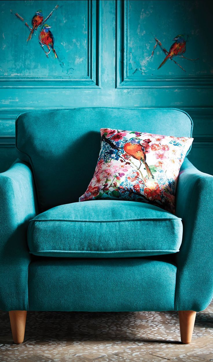 Top hat chair light blue furniture realm - Colorful Pillow On Turquoise Chair