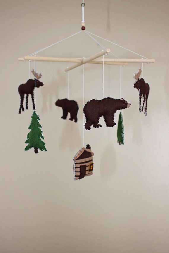 This unique and adorable baby mobile is perfect for any nursery that has an outdoorsy, campy theme...or even for your camper or sun-porch! This
