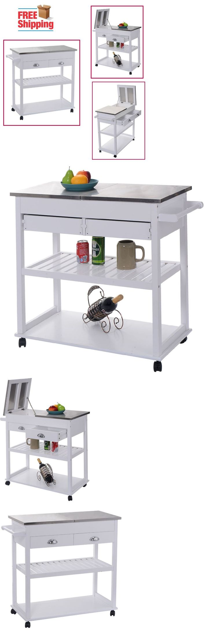 Bakers racks 20482 kitchen island trolley cart removable stainless steel top serving rolling white