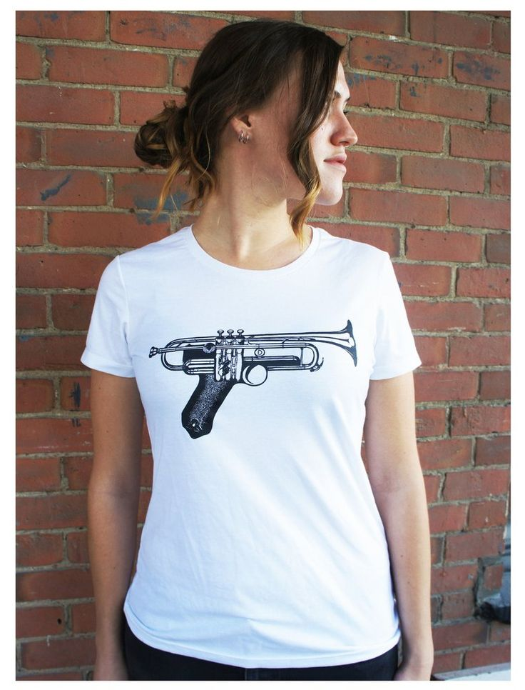 gun trumpet tee ... #clothing #womensclothing #womensfashion #graphictee #musictee #tshirt #teeshirt #jazz #trumpet #musictshirt #womensstyle