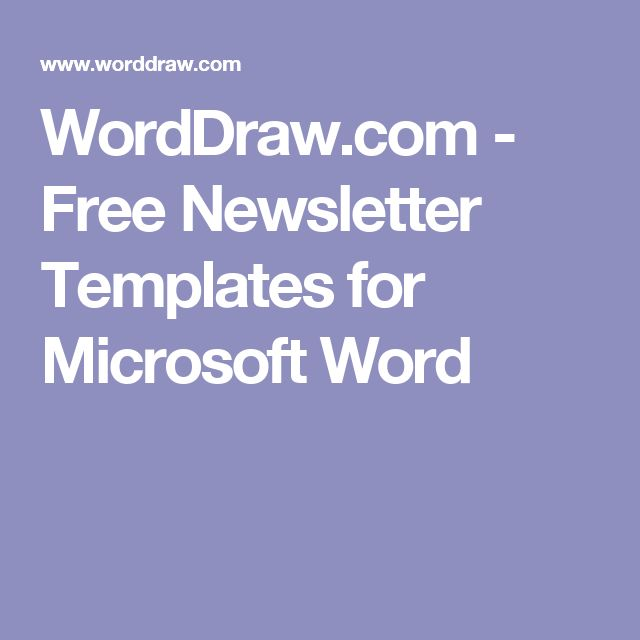 WordDraw.com - Free Newsletter Templates for Microsoft Word